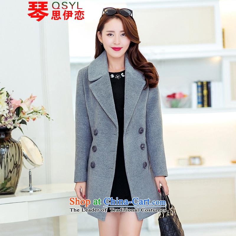 Qin Si'2015 Korean land gross in Sau San? long jacket, double-a wool coat grayXXL