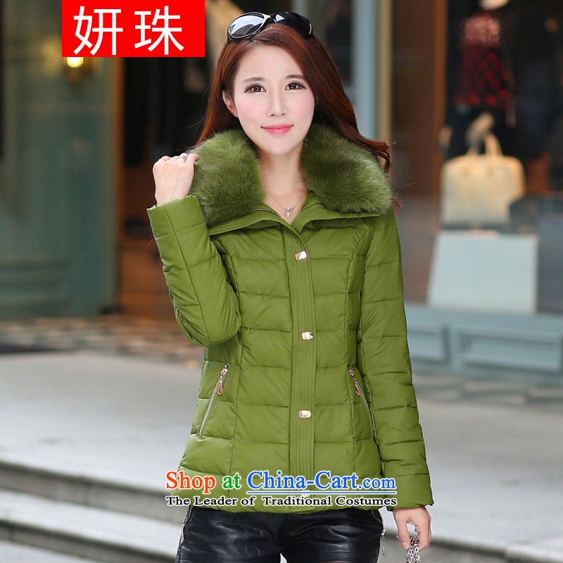 Yeon-ju Chiu replacing to increase women's code 200 catties thick sister thick cotton clothing large mm coat cotton coat thick girls' Graphics thin green聽5XL