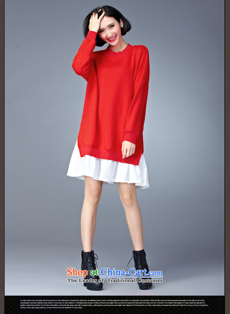 2015 Autumn and Winter Korea MEISUDI version of large numbers of ladies thick leave two loose video in thin long wild forming the long-sleeved blue skirt are loose) code (pictures, prices, brand platters! The elections are supplied in the national character of distribution, so action, buy now enjoy more preferential! As soon as possible.