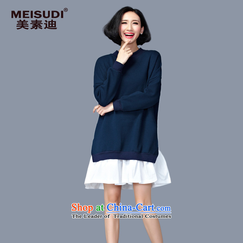 2015 Autumn and Winter Korea MEISUDI version of large numbers of ladies thick leave two loose video in thin long wild forming the long-sleeved blue dress code (loose) are)
