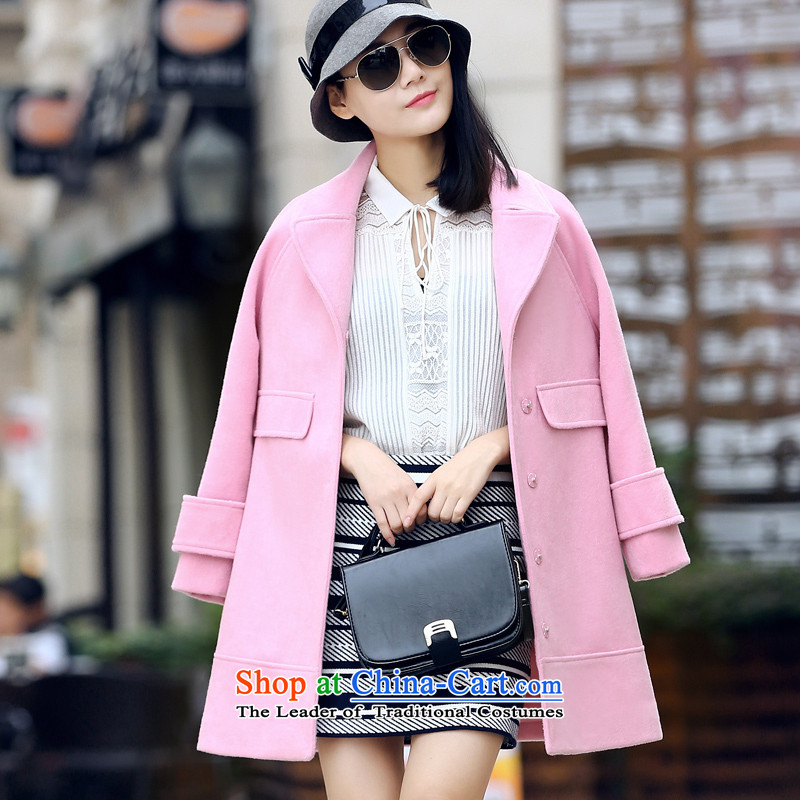 Gross girls jacket? Long 2015 Fall_Winter Collections of the new Korean citizenry lapel Sau San wool a wool coat pink聽S