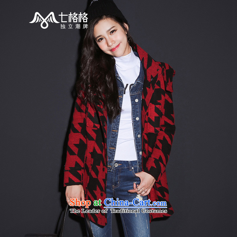7 2015 New winter Princess Returning Pearl Red Chidori Grid Clip Straight Single Row is a female Red of coat?燬
