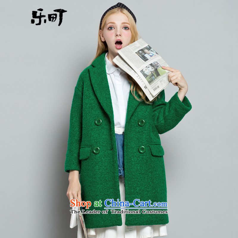Lok-machi 2015 winter new women's stylish cocoon-candy colored coat female green L_165