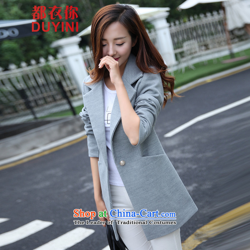 Are you yi 2015 autumn and winter new Korean women in long hair? female jacket for larger a wool coat female DYN2033 GRAY聽M