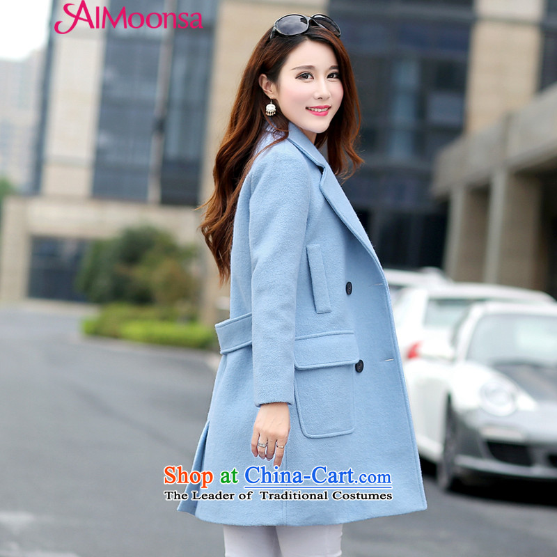 Gross? female jacket aimoonsa 2015 winter clothing new Korean version in Sau San long double-a wool coat for winter coats larger gross? blue XXL