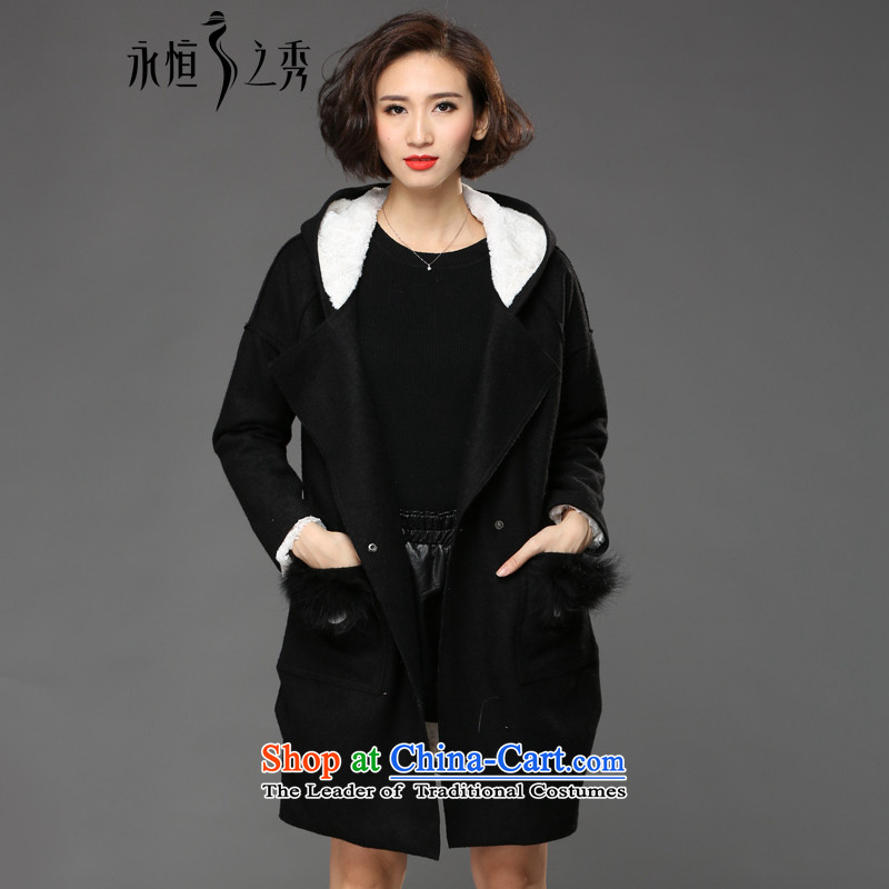 The Eternal Sau 2015 large female winter clothing stylish black-and-white collision personality temperament black-colored coat�L