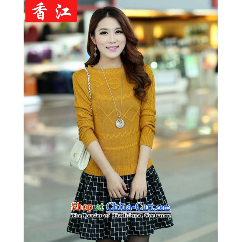 Xiang Jiang?2015 large women fall thick mm sweater with skirt thick sister. long thin coat 200 catties graphics leave two pieces of knitted shirt 9168 Large Yellow 3XL