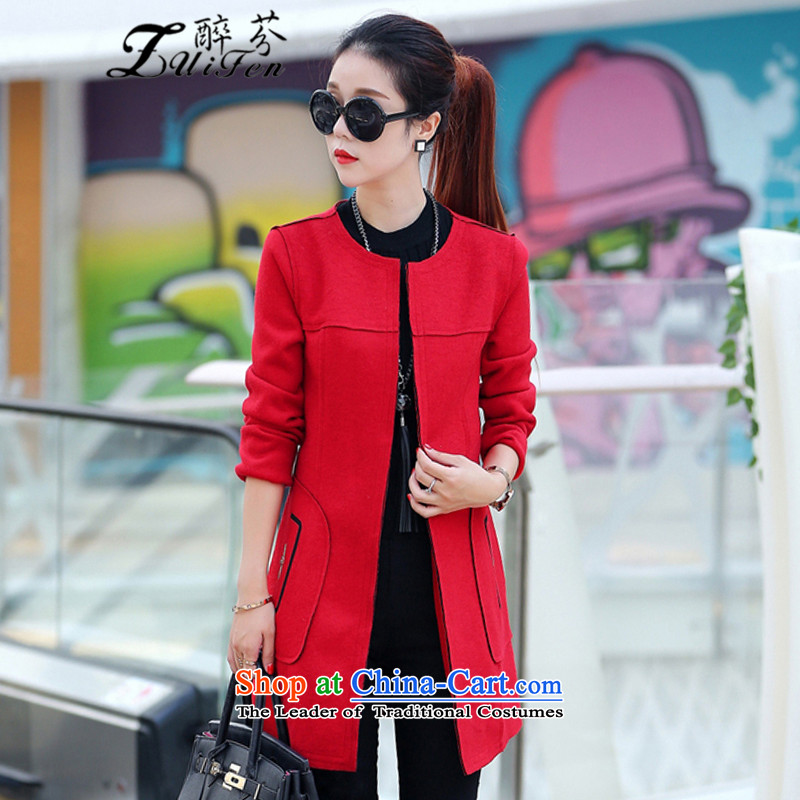 Zui fen聽2015 autumn and winter new Korean long-sleeved jacket in Sau San female long neck hair? female聽8877聽red cloak聽L