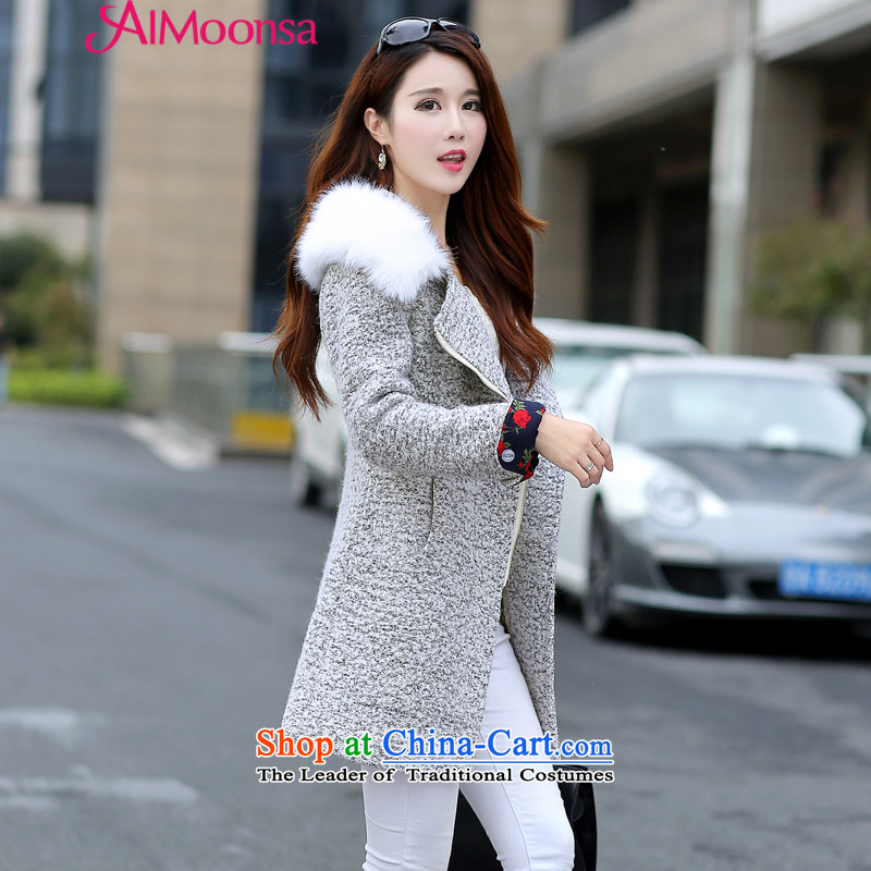 The Korean version of this gross aimoonsa coats women 2015 autumn and winter in new long zipper gross? cap on the Nagymaros for coat a wool coat gray XXL