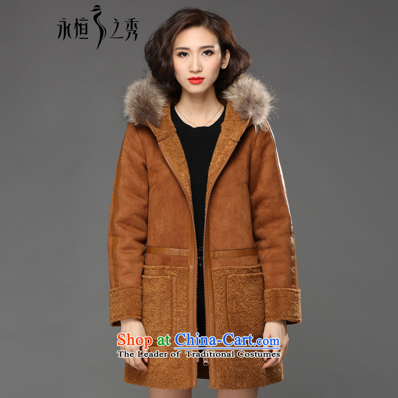 The Eternal Soo-XL female jackets thick mm sister winter 2015 New Product Version Korea to increase stylish look thick, Hin in thin long hair color and Neck Jacket�L