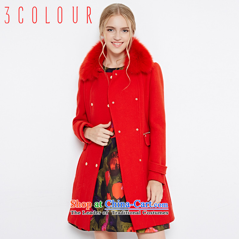 Li Xue Winter 2015 New Fox gross collar double row is plush coat X444251D10? female red�0_84A_M