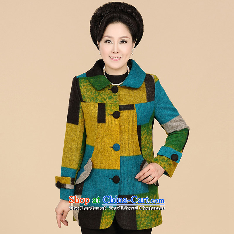 _PSTL_ Hester, stylish stitching color blocks long-sleeved yellow 3XL gross coats P946402070523?