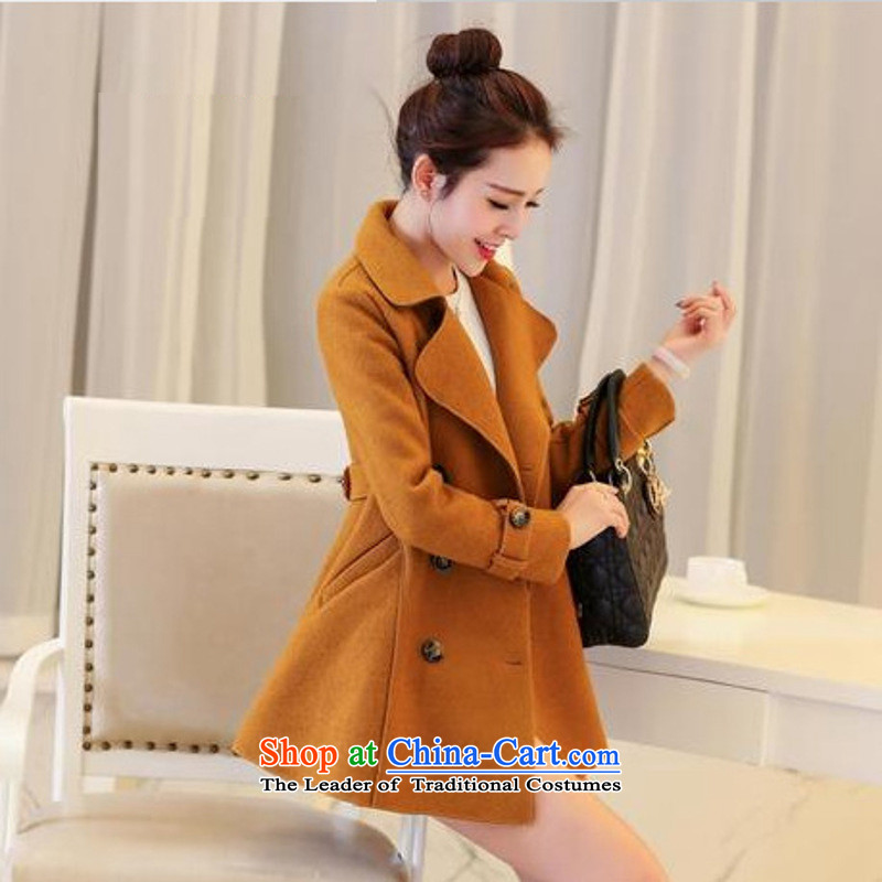 Sin has?loaded the autumn and winter 2015 new Korean citizenry Sau San Solid Color cloak gross flows of female jacket coat??xzxy9829?and color?S
