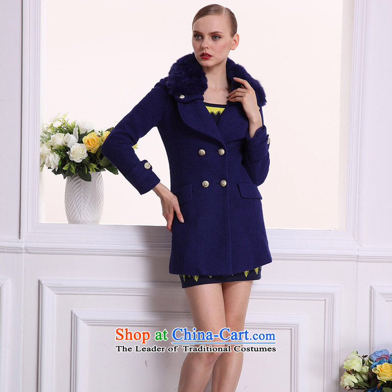 Arts _yiman Overgrown Tomb_ royal blue, rabbit hair style long-sleeved coats Y862K30534 L