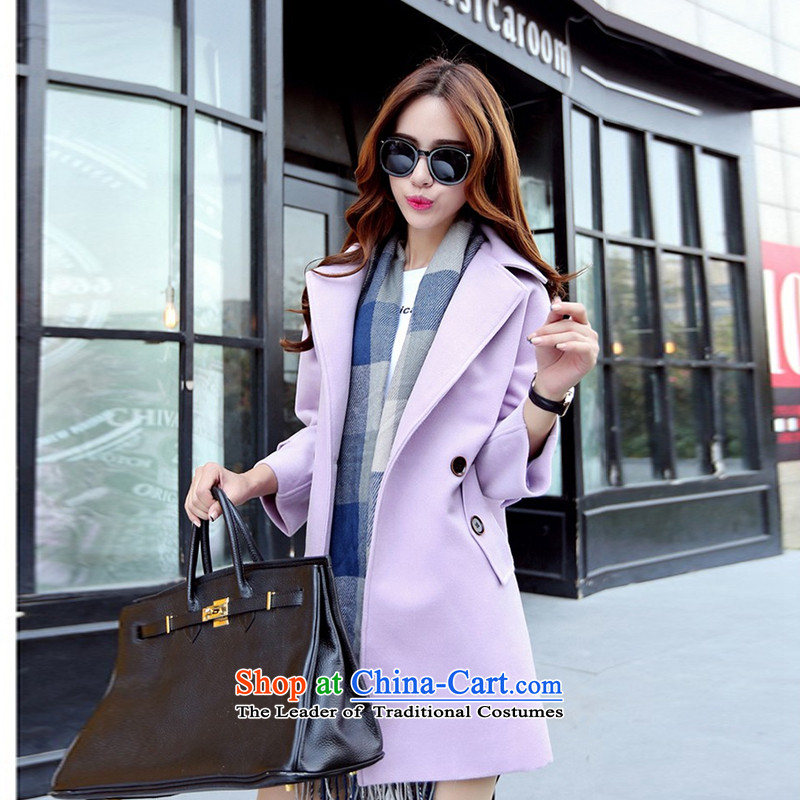 The chemist聽XINYARAN聽pure colors in the lapel long coats聽HXY218_?聽purple聽M