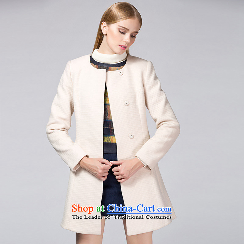 Ditto D13DR593 Korean style round-neck collar Foutune of gross? m apricot overcoat M