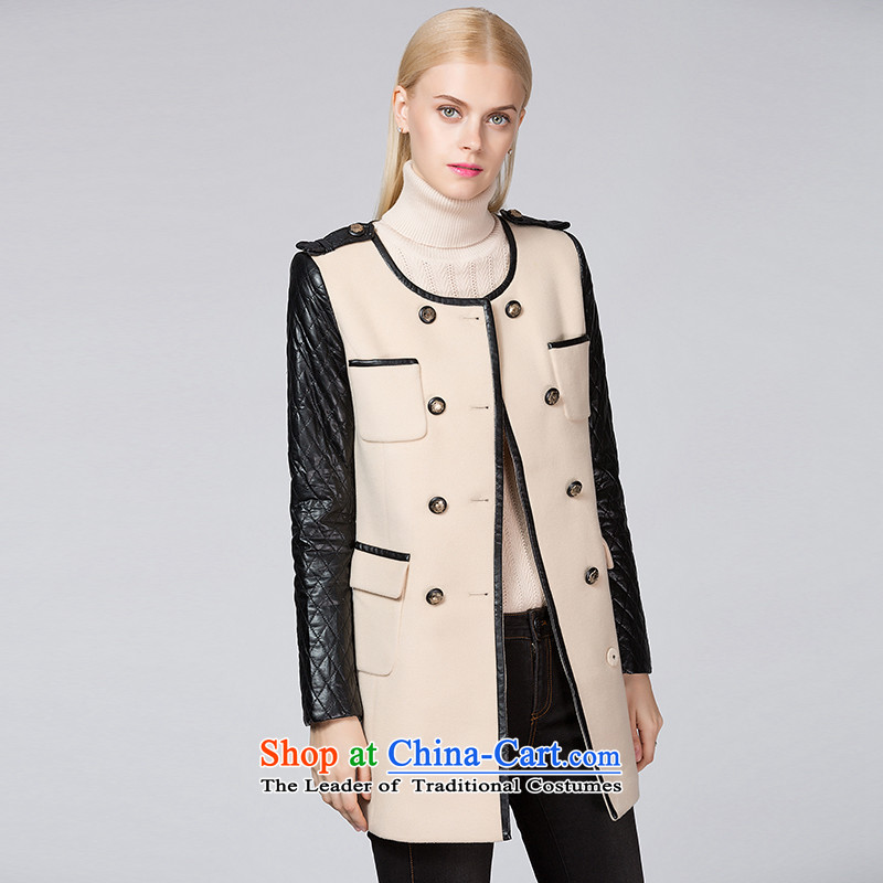 Ditto D13DR591 double-round-neck collar stitching gross? m apricot overcoat L