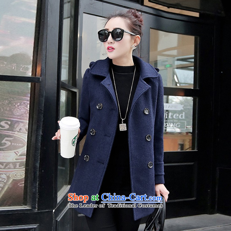 The chemist聽XINYARAN聽pure color lapel medium to long term, double-coats聽HXY223?聽possession of Cyan聽XL