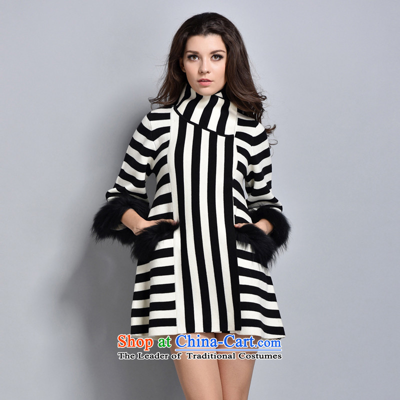 Women in the autumn oopsciah OL Western Wind aristocratic high-end COAT 8226 black and white L