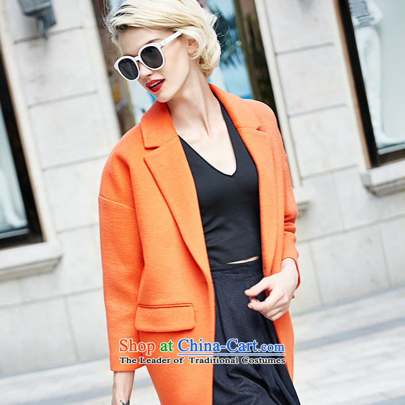 Lily autumn and winter new stylish cocoon-coats Orange Orange gross? LL215407025 L