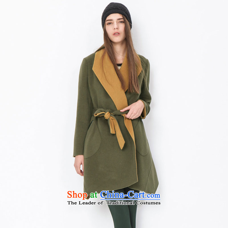 Send energy (EUROPRIMO) large roll collar double-side-color coats EUDQD511A olive green S