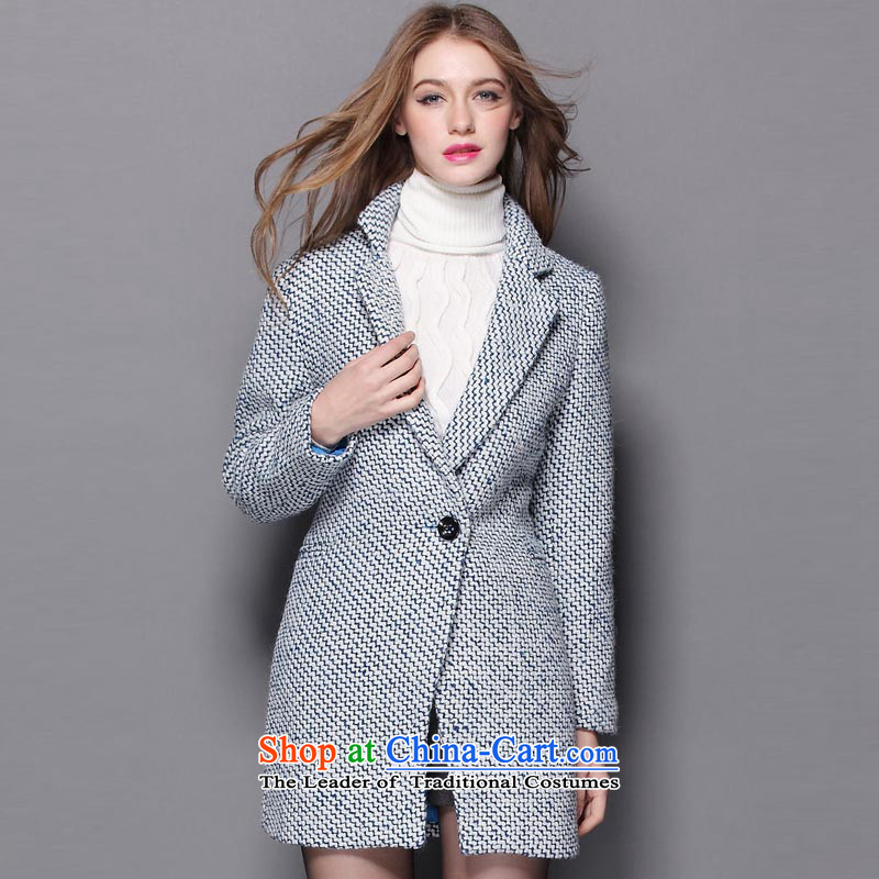 Hayek terrace _MAXILU_ Blue_white long-sleeved Recreation Fashion woolen coat M862A3047C64 L