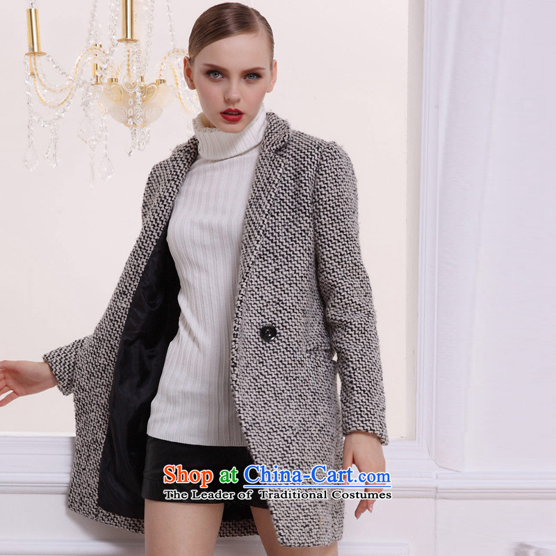 Hayek terrace _MAXILU_ Black_white long-sleeved Recreation Fashion woolen coat M862A3047C60 L