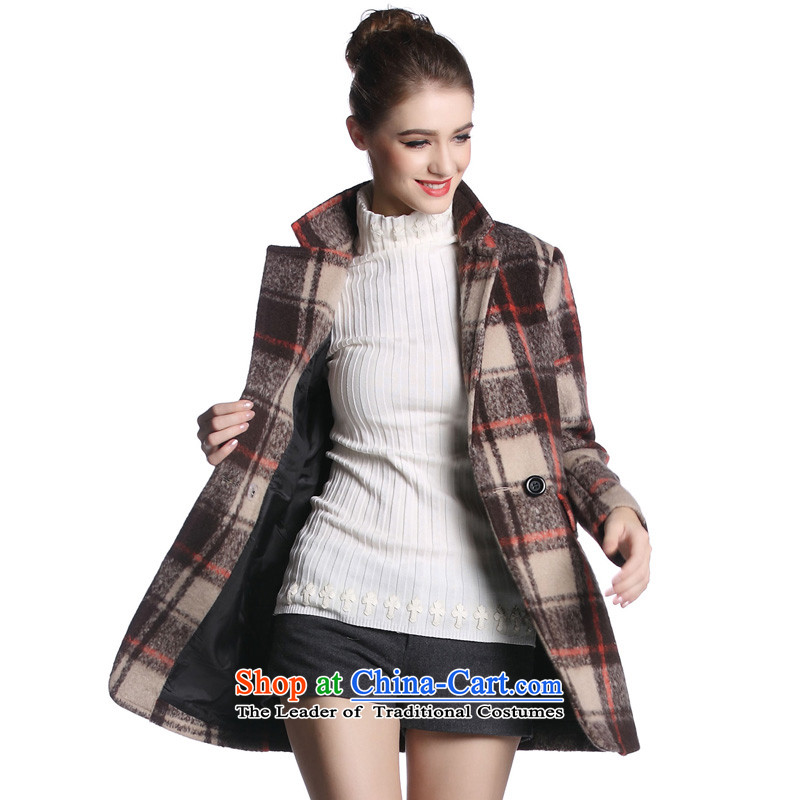 Hayek terrace _MAXILU_ Coffee_multi-colored long-sleeved smart casual American coats M862A3046C77 XL