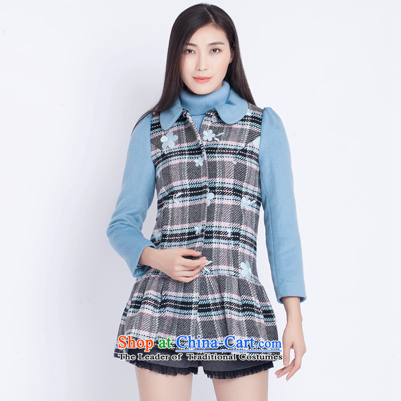The war-hee _QS_ sweet plaid embrodery fabric stitching for coats燡XM1H9 dolls�, 36S blue