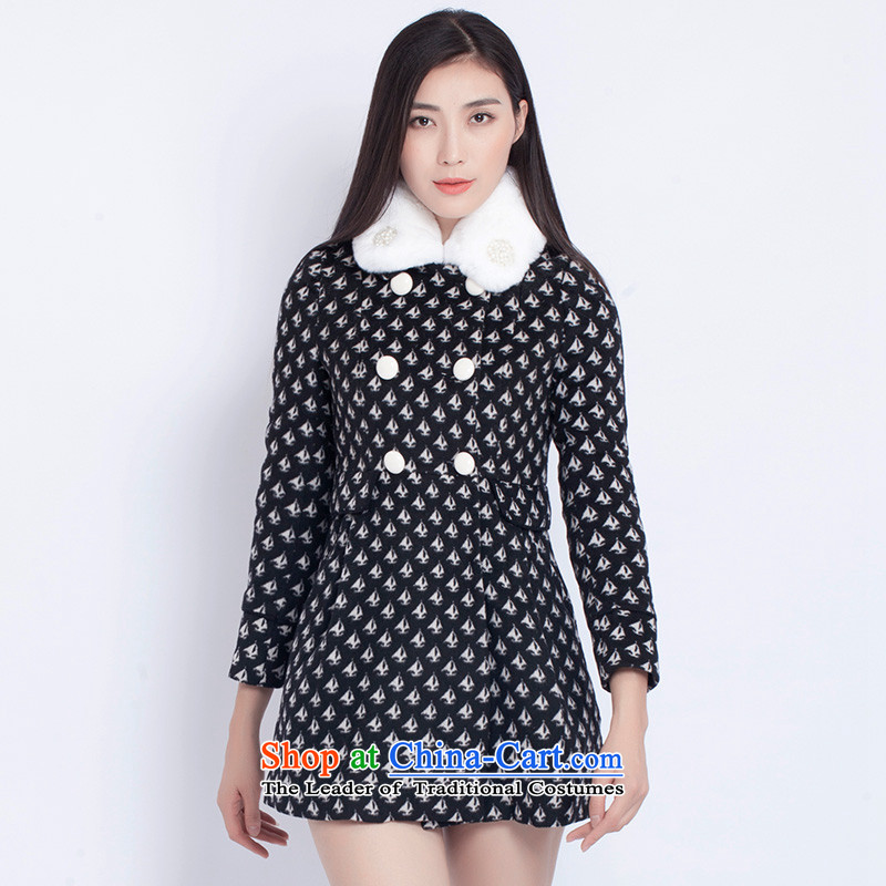 The war-hee _QS_ nails pearl rabbit hair for long in stamp Sau San Mao? coats JRB1E4 40L black
