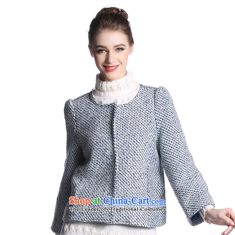 Hayek terrace _MAXILU_ Blue_white long-sleeved stylish Western woolen coat M862A3048C64 XL