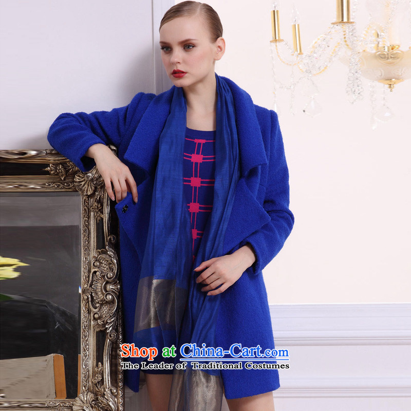 Hayek terrace _MAXILU_ blue long-sleeved stylish and classy woolen coat M862B3052C34 XL