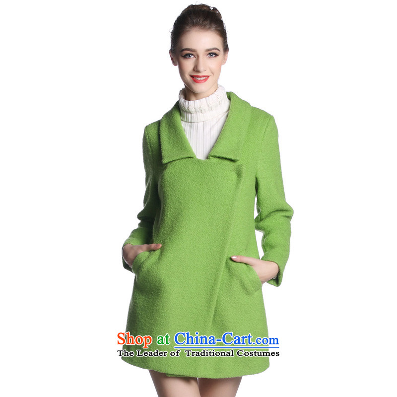 Hayek terrace _MAXILU_ Green stylish and classy long-sleeved woolen coat M862B3052C07 XL
