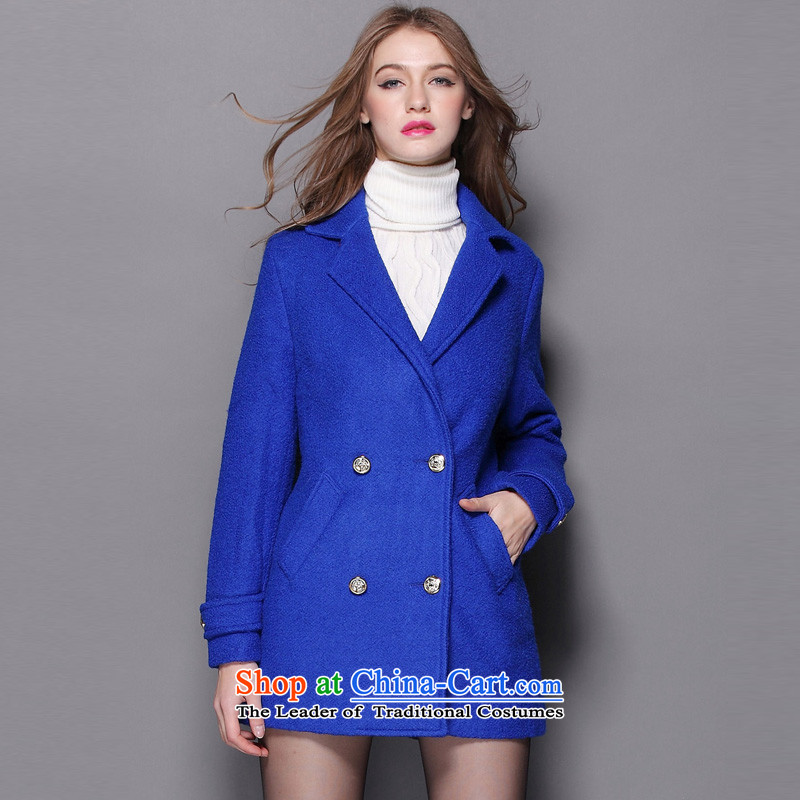 Hayek terrace _MAXILU_ Blue stylish commuter long-sleeved woolen coat M862A5032C34 L