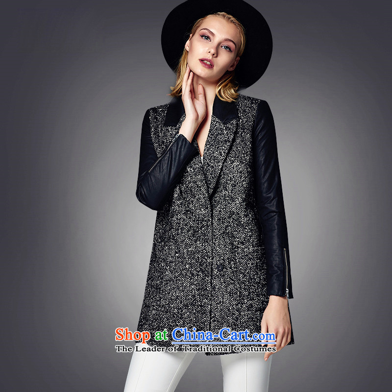 The thick tweed woolen cloth in li-long coats of black S LL215307011?