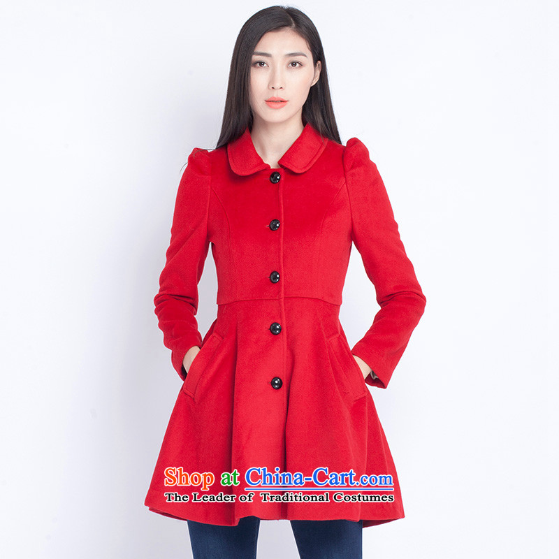 The war-hee (QS) lady in the wind bubble cuff long Foutune of wool coatKAI149?large red 40L