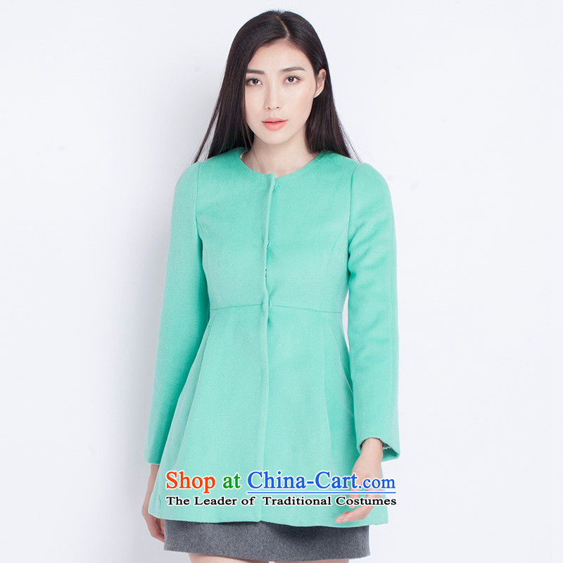 The war-hee (QS) Sweet Princess line split a swing in long coats JXR117 round-neck collar 38M green