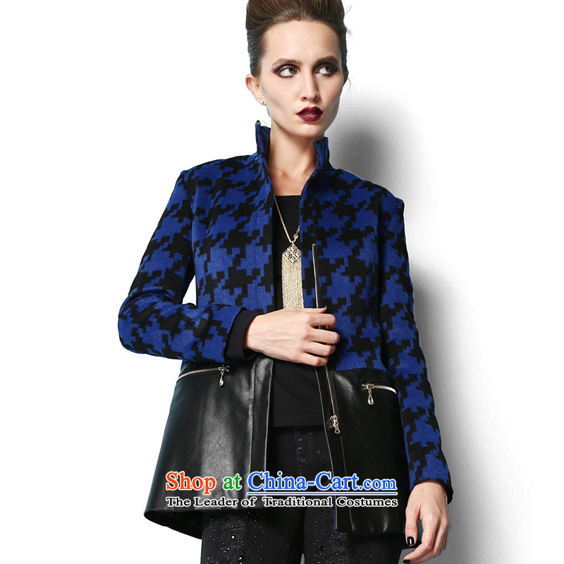 Lily chidori stitching stylish Sau San blue jacket? gross S LL214407017