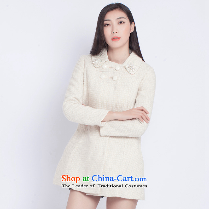 The war-hee _QS_ sweet stylish grid reverse collar double row is long coats JXR104 36S m White