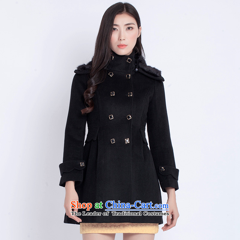 The war-hee (QS) elegant double-Sau San wool a wool coat KAI126 40L black