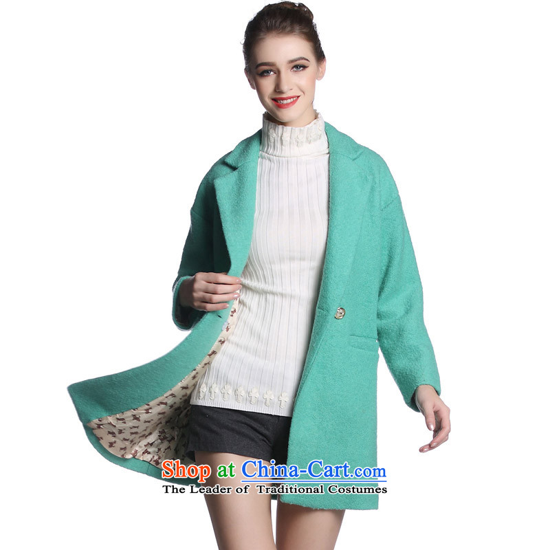 Hayek terrace _MAXILU_ Green stylish temperament leisure long-sleeved woolen coat燤862F2035C07 XL
