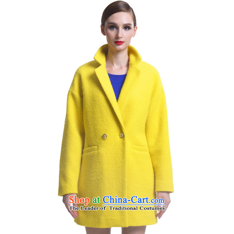 Hayek terrace _MAXILU_ yellow stylish temperament leisure long-sleeved woolen coat M862F2035C27 L