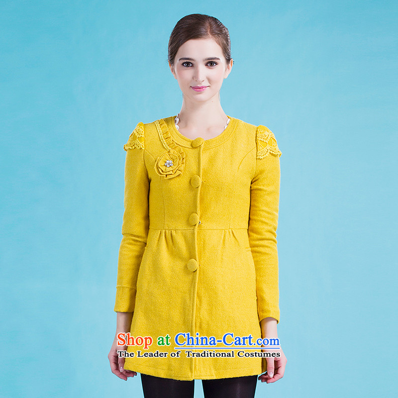 Blue silk Doi _lansda_ Plate flower wool coat L13414011139? yellow S