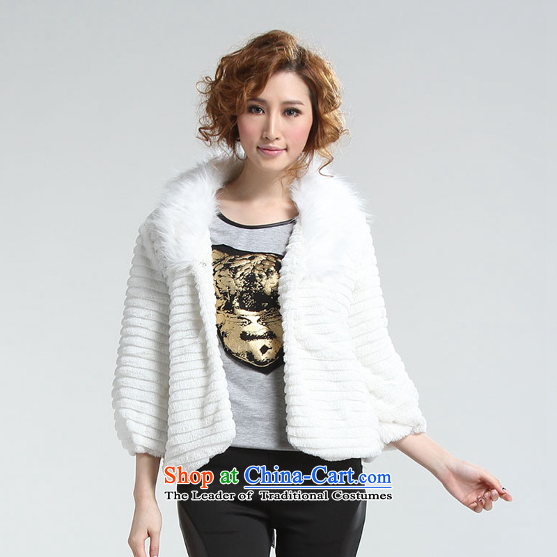Blue silk Doi _lansda_ jacket L10060A4 plush white S