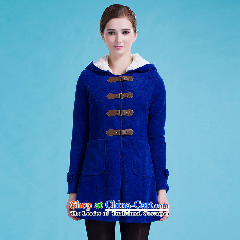 Blue silk Doi _lansda_ a wool coat L13414019040 blue XL