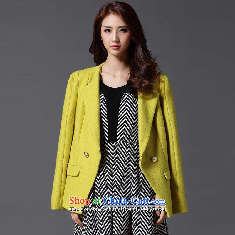 Hayek terrace _MAXILU_ yellow stylish temperament leisure long-sleeved woolen coat燤862A5025C27 XL