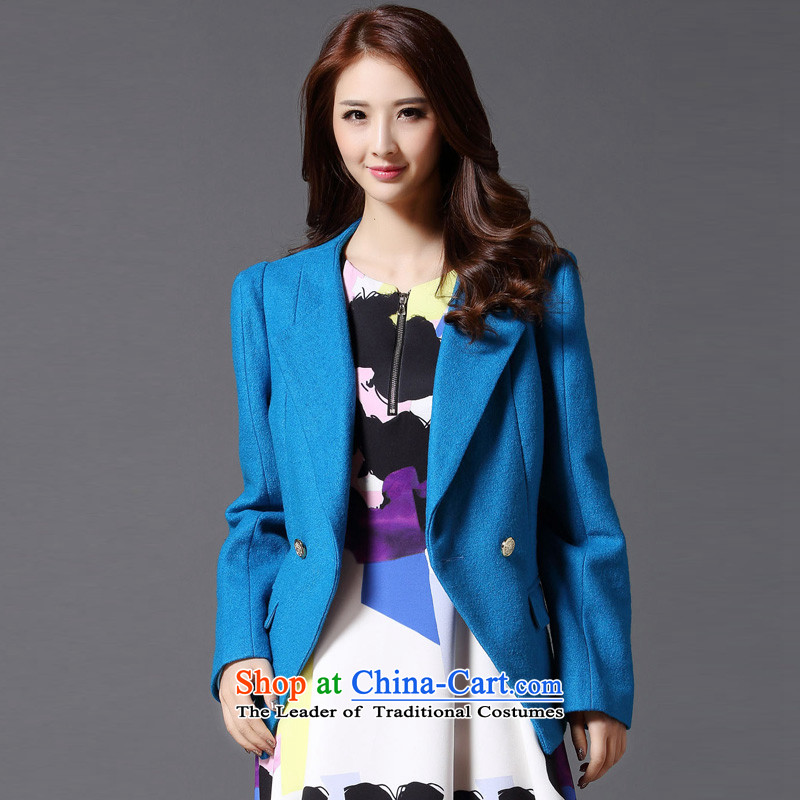 Hayek terrace _MAXILU_ blue long-sleeved casual stylish temperament woolen coat M862A5025C05 L