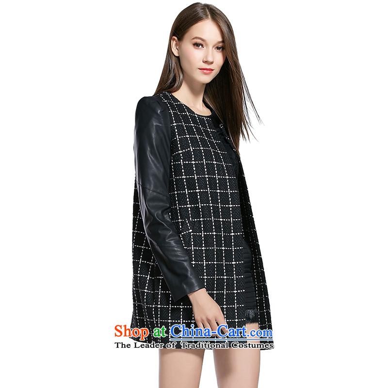The breakdown of the autumn and winter new products in the stitching PU long coats 1143414003 gross? checkered燣