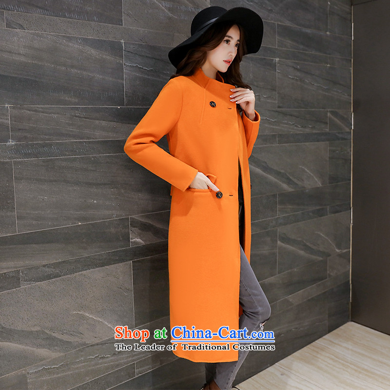 Load the autumn 2015 has sin new Korean citizenry video thin stylish pure color in long coats female A0028 gross?  Orange S
