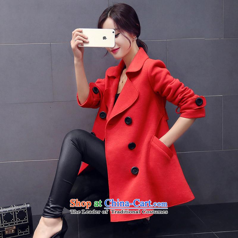 Load the autumn 2015 has sin new Korean girl in Sau San jacket long double-Ms. long-sleeved jacket in gross? femaleYS950056 REDM